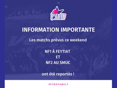 Matchs du 19/09/2020 reportés !