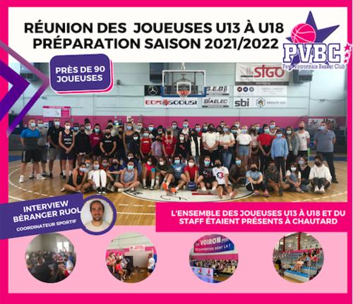 Réunion joueuses de U13 à U18 - Préparation saison 2021-2022