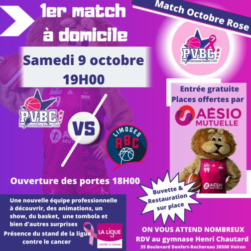 1er match à domicile: 9/10 Match Octobre Rose